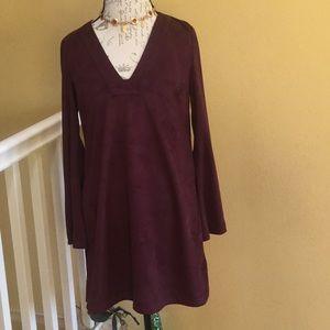 Burgundy suede dress